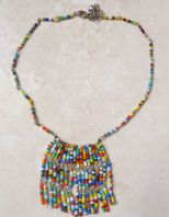 Boho Vibrant seed Bead Fringe Drop Adjustable length Necklace.
